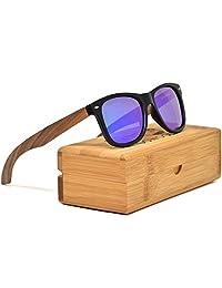 Walnut Wood Wayfarer Sunglasses For Men & Women with Blue Mirrored Polarized Lenses