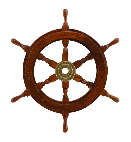 Cheap Deco SH8762 Wood Brass Ship Polystone Wheel,, 18-Inch