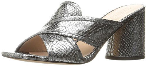 Marc Jacobs Women's Aurora Print Mule, Dark Silver, 38.5 EU/8.5 M US Embossed Print Clogs
