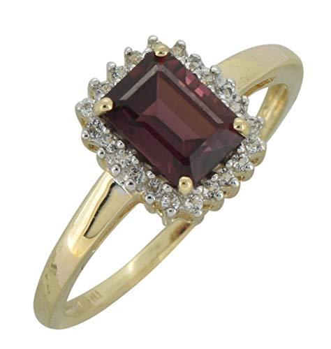 - YoTreasure 1.10 Ct. Red Rhodolite Garnet Solid 10K Yellow Gold Princess Ring