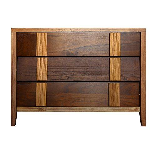 Mobili Rebecca® Commode Bahut 3 Tiroirs Bois Marron Design Retro Sejour Chambre Entree (Cod. RE4656)
