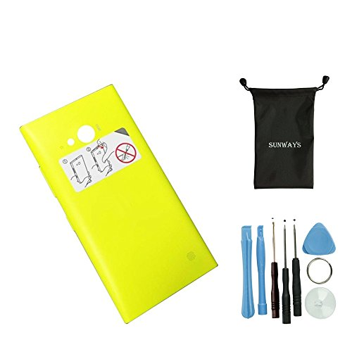 Sunways Housing Back Cove Battery Cover Door Replacement For Nokia Lumia 730 735 With device opening tools(Yellow)