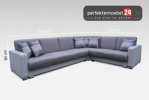 Sofa Couch mit Schlaffunktion Eckcouch Polstergarnitur Ecke Wohnlandschaft PORTO (astoria)