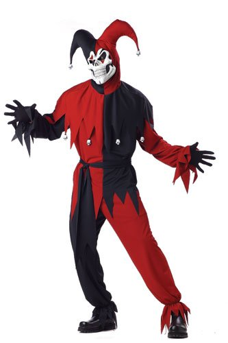 Evil Costumes Womens Clown (California Costumes Women's Evil Jester Costume,Black/Red,P)