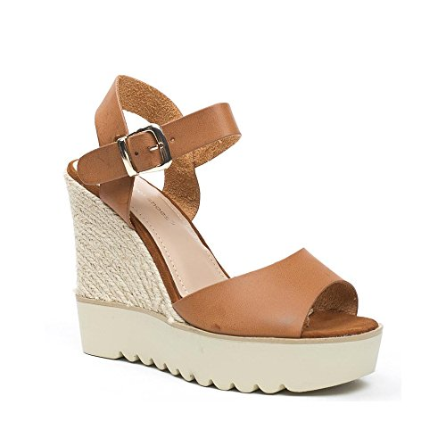 Ideal Shoes, Damen Sandalen Camel