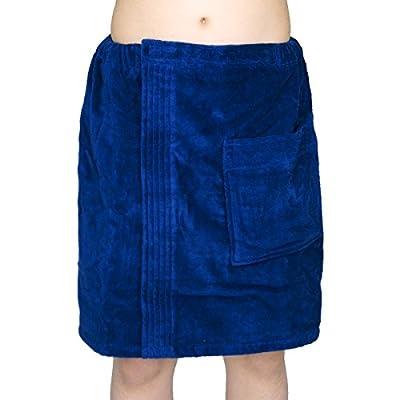 Men's 100% Natural Turkish Cotton Terry Velour Body Wrap Bath Spa Towel with Adjustable Velcro