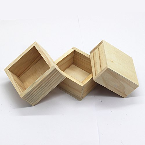 LONG TAO 3PCS 3.8'' × 3.8'' × 1.8'' Wood Succulent Planter Plant Container Box Rectangular Flower Bed Pot(Raw Wood) by LONG TAO