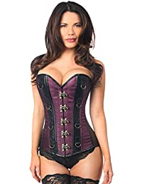 DaisyCorsets Womens Top Drawer Brocade & Faux Leather Steel Boned Corset
