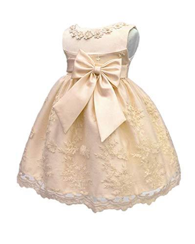 H.X Baby Girl's Newborn Bowknot Gauze Christening Baptism Dress Infant Flower Girls Wedding Dresses 12 Color (6M/6-9 Months, Apricot) -