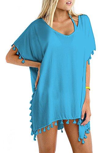 GDKEY Women Chiffon Tassel Swimsuit Bikini Stylish Beach Cover up(Blue,B)