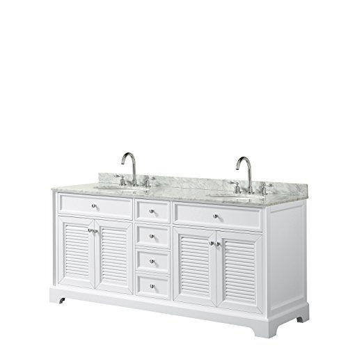 Wyndham Collection Tamara 72 inch Double Bathroom Vanity in White, White Carrara Marble Countertop, Undermount Oval Sinks, and No Mirror