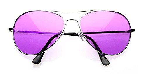 VW Eyewear - Colorful Silver Metal Aviator With Color Lens Sunglasses (Purple lens)