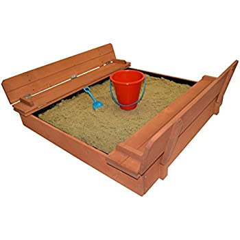 Back Bay Play Kids Wood Sandbox With Cover Premium Wooden Outdoor Sand Box  With Convertible Bench