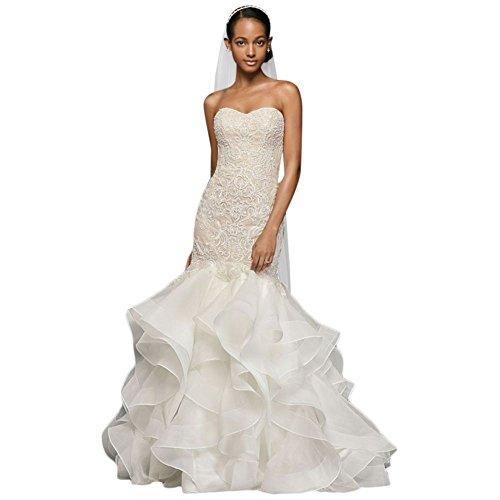 David's Bridal Scroll Lace Trumpet Wedding Dress Style CWG769, Ivory, 10 -