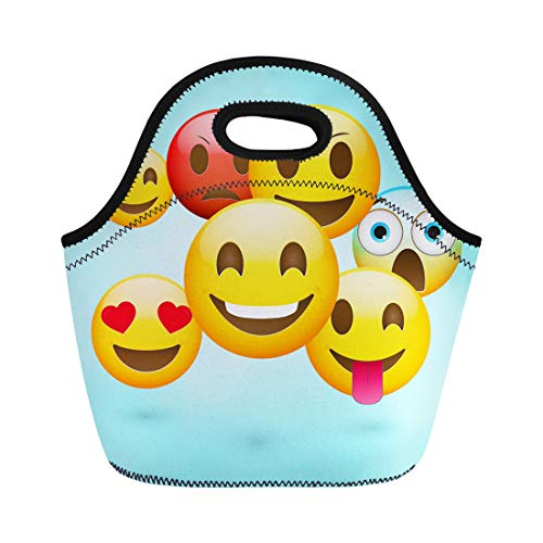 Semtomn Neoprene Lunch Tote Bag Yellow Happy Emoticons Fresh Angry Cartoon Character Chat Cheerful Reusable Cooler Bags Insulated Thermal Picnic Handbag for Travel,School,Outdoors,Work