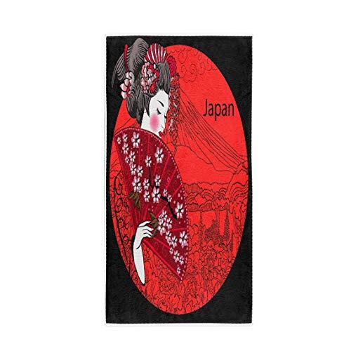 Semtomn 30 x 60 Inches Bath Towel Japan Geisha Japanese Woman Asian Beautiful Billboard Drawing Girl Soft Absorbent Travel Guest Decor Hand Towels Washcloth for Bathroom(One Side -
