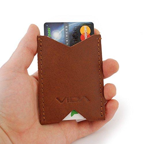 VIDA Slim Wallet Wallets Credit Business Card Holder Rustic Brown Vintage Genuine Leather Minimalist Accessories Business Card Holder for Men Women from Vida Clothing