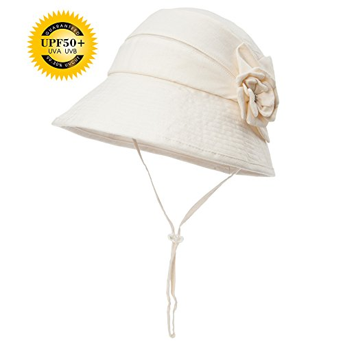 Siggi Womens UPF50+ Linen/Cotton Summer Sunhat Bucket Packable Foldable Wide Brim Hats w/ Chin Cord Beige (Crushable Bucket Hat)