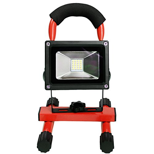BUY JOY Red Portable 10W Cordless Work Light Rechargeable LED Flood Spot Camping Lamp by BUY JOY