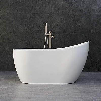 "WOODBRIDGE B-0006 54"" Modern Acrylic Freestanding Bathtub, with Brushed Nickel Drain and Overflow, B0006/Bat-1507, 54"" Bathtub I"