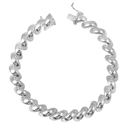 Sterling Silver San Marco Bracelet - 8.5mm San Marco Bracelet. 7, 8 Inches 925 Italian Sterling Silver. Box Clasp With Safety Pin (8)