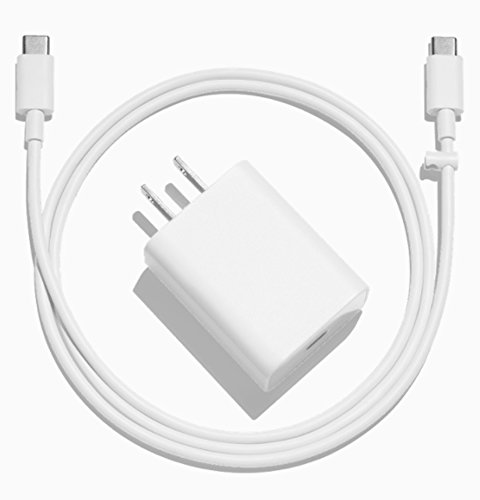 Official Google Pixel/XL/C Quick Fast Charger (White – Adapter with TYPE C to C Wire)