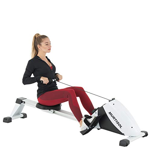 Murtisol Magnetic Rowing Machine Folding Rower with 10 Resistance Levels,LCD Display and Ultra-Quiet Aluminum Slide Rail,Cardio Fitness Equipment for Home