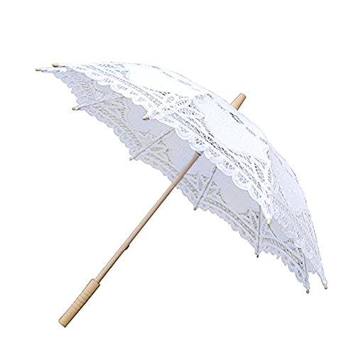 Lace Embroidery Wedding Umbrella Wooden Handle for Wedding Decoration(W) by Johlycao (Image #7)