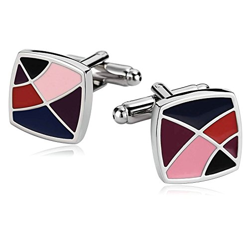 - Aooaz Cufflinks for Men Stainless Steel Mens Cufflinks Rainbow Geometry Lines Square Colorful 1.6X1.6CM