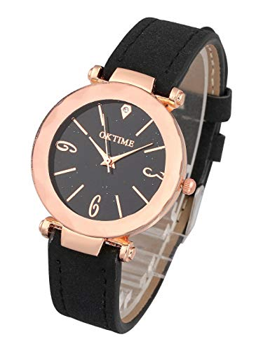 Top Plaza Womens Ladies Fashion Simple Black Leather Analog Wrist Watch Unique Rhombic Glass Face Rose Gold Case Casual Dress Quartz Watches Arabic Numerals
