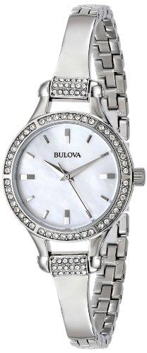 Bulova Women's 96L128 Crystal-Accented Stainless Steel Watch - Bulova Bangle Steel Ladies Watch