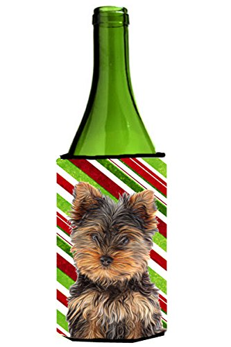 Candy Cane Holiday Christmas Yorkie Puppy / Yorkshire Terrier Wine Bottle Beverage Insulator Hugger KJ1174LITERK - Candy Cane Huggers
