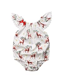 Dongci Infant Baby Girls Xmas Romper Deer Printed Jumpsuit Bodysuit Christmas Outifis