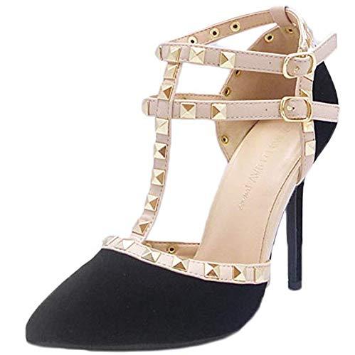 (Wild Diva Womens Pointy Toe Gold Stud Strappy Ankle T-Strap Stiletto Heel Pump Sandal,6.5 B(M) US,Black Nubuck )