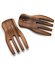 "Lipper International 1102 Acacia Salad Hands, 3.75"" x 7"" x 1.88"", One Pair"