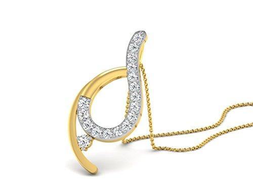 Or Jaune 9 ct Pendentifs Diamant , 0.32 Ct Diamant, GH-SI, 1.32 grammes.