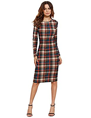 MakeMeChic Women's Plaid Long Sleeve Bodycon Pencil Dress