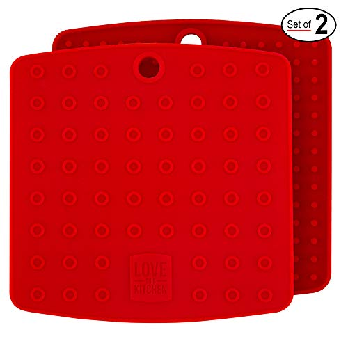 Christmas Red Silicone Trivet Mats/Hot Pads, Pot Holders, Spoon Rest, Jar Opener & Coasters - Our Premium 5 in 1 Kitchen Tool is Heat Resistant to 442 °F, Thick & Flexible (7 x 7, 1 Pair)