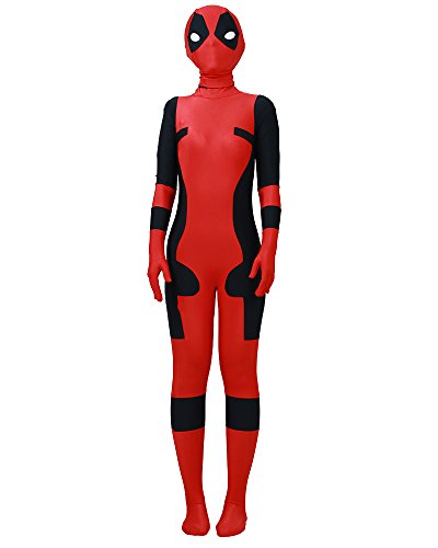 Miccostumes Costume Superhero Cosplay Suit Lycra Jumpsuit with Mask Red and Black -