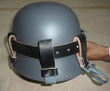 Alemán WW2 Casco de cuero negro Carry Strap con clips de metal (portador del casco