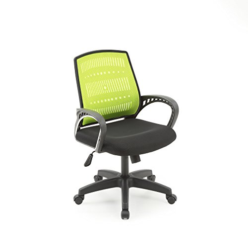 Hodedah Mesh, Mid-Back, Adjustable Height, Swiveling Office Chair with Padded Seat in Green