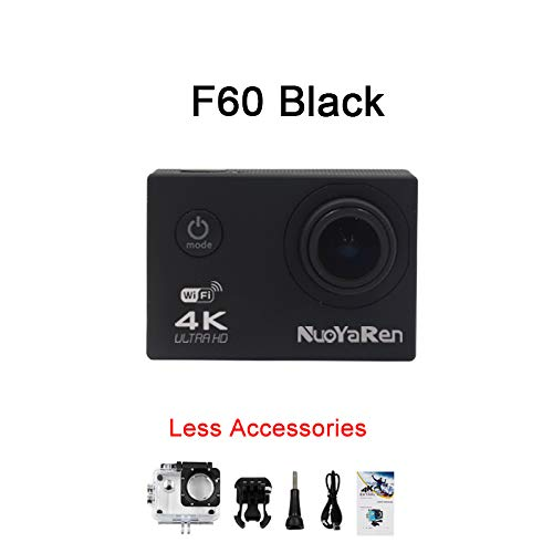 NUOYAREN Action Camera F60/F60R 4K/30fps 16MP WiFi 170D Helmet Cam go Underwater pro Waterproof Diving Sports Camera (Black)