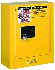 "Justrite 890200 Sure-Grip EX Galvanized Steel 1 Door Manual Flammables Mini Safety Storage Cabinet, 17"" Width x 22"" Height x 8"" Depth, 1 Adjustable Shelf, Yellow"