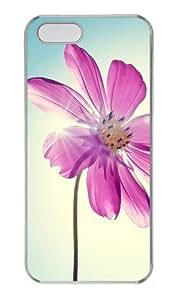 Purple Magenta Flower Custom PC Hard Plastic Case for iPhone 5/5S Transparent