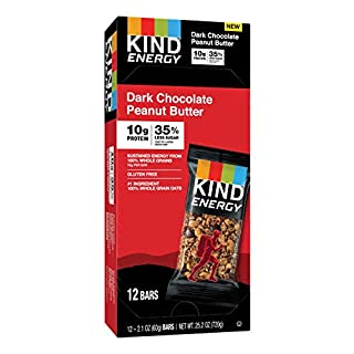 KIND Energy Bar, Dark Chocolate Peanut Butter, Gluten Free, Low Sugar, 1.76oz, 12 Count
