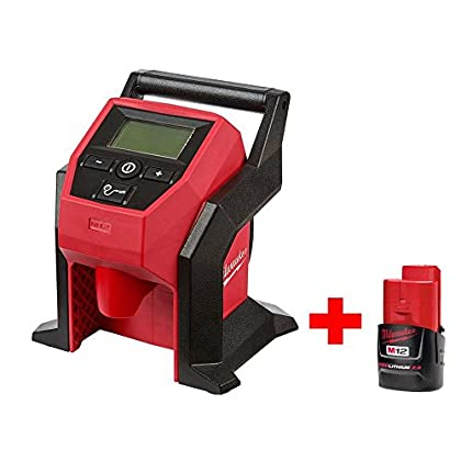 Image of Air Compressors & Inflators Milwaukee Electric Tools 2475-20P M12 COMPACT Inflator Free 2.0 Battery Special Kit