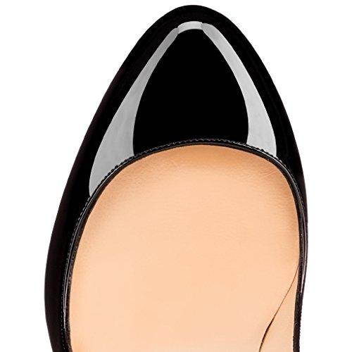 Donna Heels Nero Col Col Toe elashe Tacco Tacco Round 10cm Classiche da Scarpe Scarpe Scarpe O6HqE