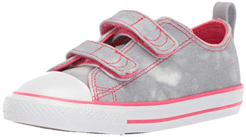 (Converse Girls Infant Chuck Taylor All Star 2V Tie-Dye Low Top Sneaker, Wolf Grey/Strawberry Jam/White, 5 M US)