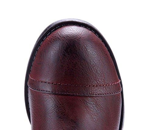 Schuhtempel24 Damen Schuhe Klassische Stiefeletten Stiefel Boots Blockabsatz Nieten/Used Look 4 cm Rot