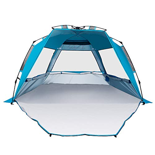 IDEALHOUSE XL Instant Beach Tent with Extra Front Seat Mat, 3-4 Person Beach Cabana Sun Shelter,Portable Sun Shade Instant Tent for Beach for KidsFamily Camping, Fishing, Outdoor, Parties Cool Blue